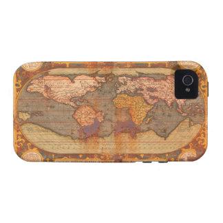 Caso rústico del iPhone 4 del mapa del mundo del v iPhone 4/4S Carcasa