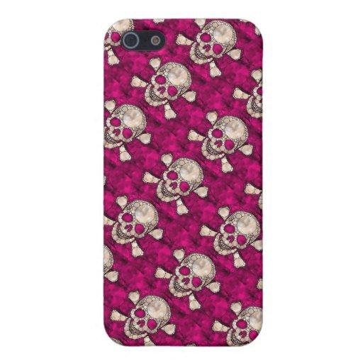 Casos rosados de Bling Skull&Bones iphone5 iPhone 5 Protector