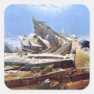 CASPAR DAVID FRIEDRICH - el mar del hielo 1824 Pegatina Cuadrada