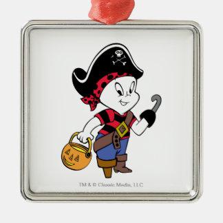 Casper en traje del pirata adorno navideño cuadrado de metal