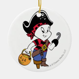 Casper en traje del pirata adorno navideño redondo de cerámica