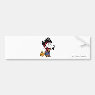 Casper en traje del pirata etiqueta de parachoque