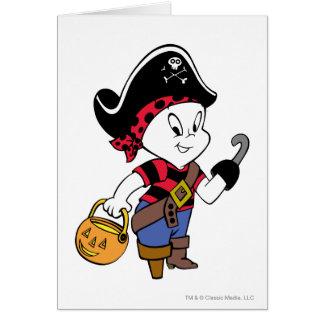 Casper en traje del pirata tarjeta de felicitación