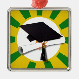 Casquillo de la graduación - la escuela colorea el adorno cuadrado plateado