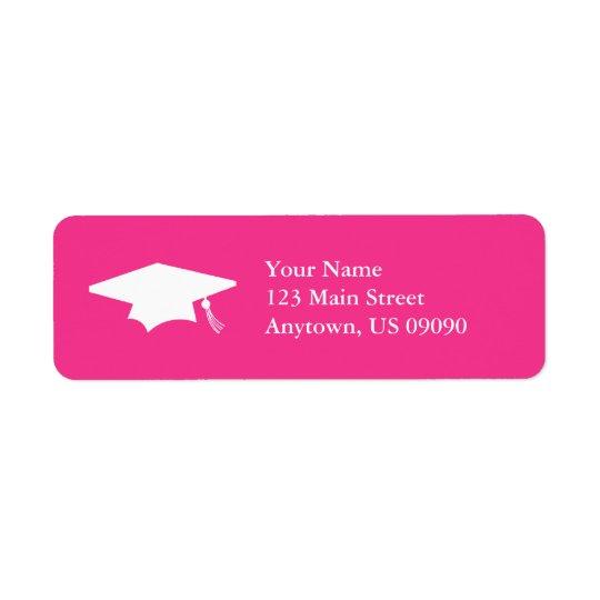 Casquillo de la graduación (rosa oscuro) etiqueta de remite