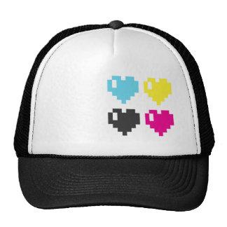 Casquillo de los corazones del pixel de CMYK Gorras De Camionero