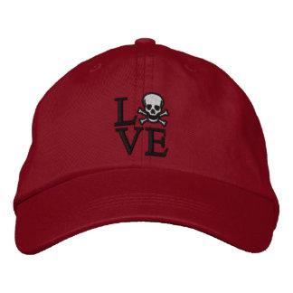 Casquillo del cráneo del amor gorra de béisbol