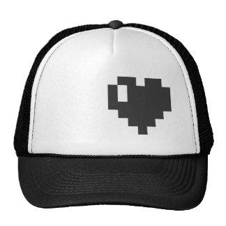Casquillo negro del corazón del pixel gorro de camionero