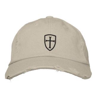 Casquillo negro del escudo de la cruz del cruzado gorra de béisbol bordada