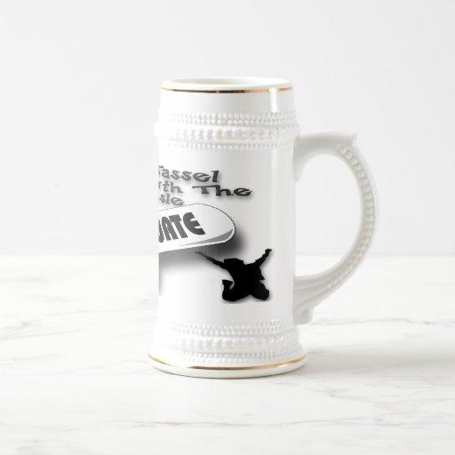 Casquillo negro del graduado del diploma (varón) S Tazas De Café
