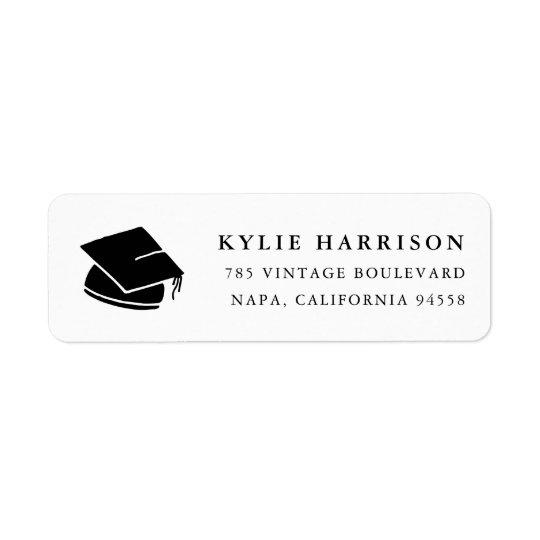Casquillo remite de la graduación negra y blanca etiqueta de remite