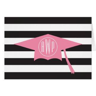 Casquillo rosado de la graduación del monograma + tarjeta pequeña