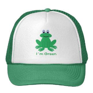 Casquillo verde de la rana del dibujo animado de gorro de camionero