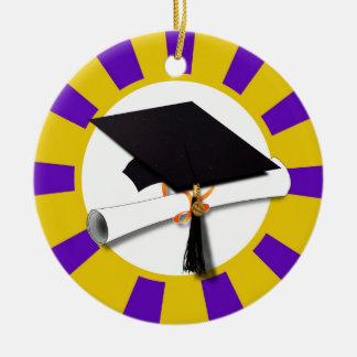Casquillo w/Diploma de la graduación - oro y Adorno Redondo De Cerámica