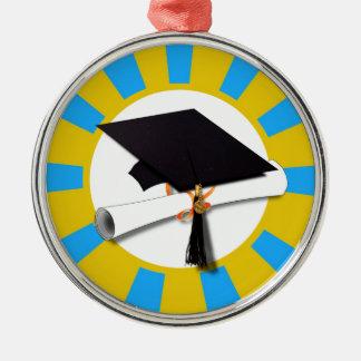 Casquillo w/Diploma de la graduación - oro y azul Adorno Redondo Plateado