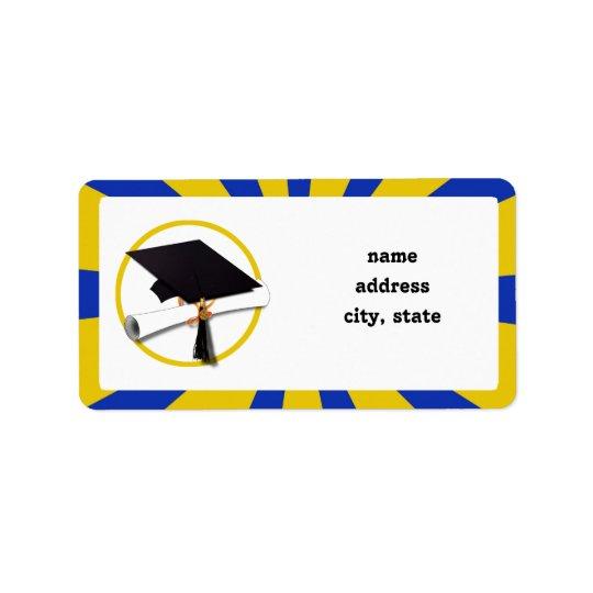 Casquillo w/Diploma de la graduación - oro y azul Etiquetas De Dirección