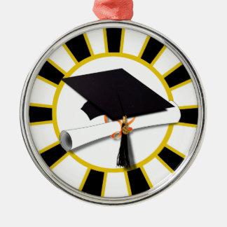 Casquillo w/Diploma de la graduación - oro y negro Ornaments Para Arbol De Navidad