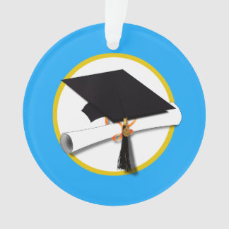 Casquillo w/Diploma - fondo azul claro de la