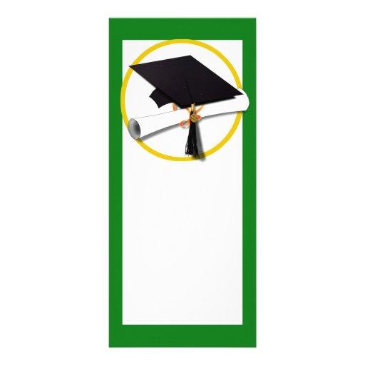 Green Graduation Cap and Diploma