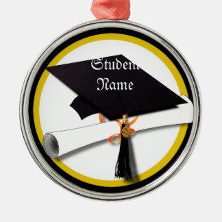 Casquillo y diploma de la graduación adorno redondo plateado