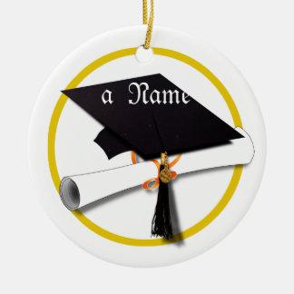 Casquillo y diploma de la graduación adorno redondo de cerámica
