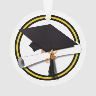 Casquillo y diploma - oro y colores negros del