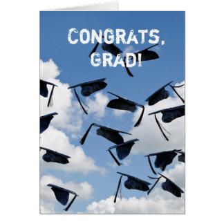 casquillos de la graduación del vuelo tarjeta de felicitación