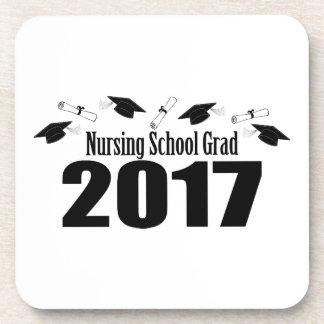 Casquillos y diplomas (negro) del graduado 2017 de posavasos