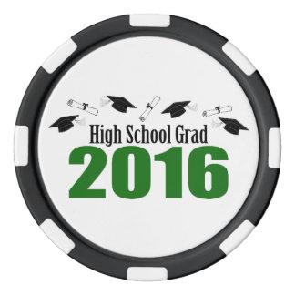 Casquillos y diplomas (verde) del graduado 2016 fichas de póquer