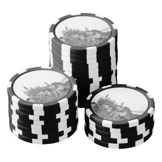 Castillo blanco y negro de Neuschwanstein en Juego De Fichas De Póquer