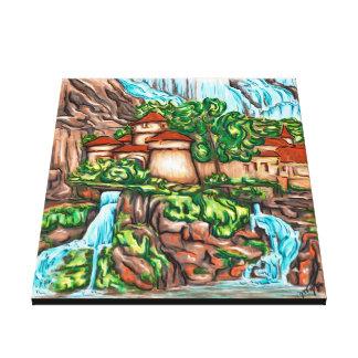 Castillo Cascada Impresión En Lienzo