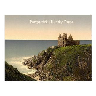 Castillo de Dunsky en la postal de Portpatrick