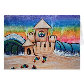 Castillo de la arena del Hippie Tarjeta De Felicitación