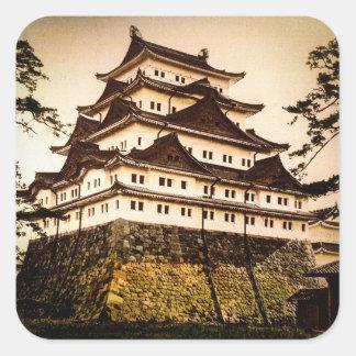 Castillo de Nagoya en 名古屋城 antiguo del vintage de Pegatina Cuadrada
