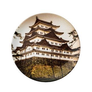 Castillo de Nagoya en 名古屋城 antiguo del vintage de Plato De Porcelana