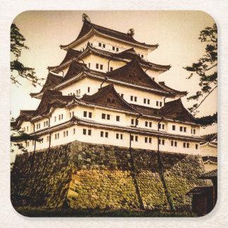 Castillo de Nagoya en 名古屋城 antiguo del vintage de Posavasos Cuadrado De Papel