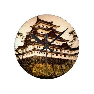 Castillo de Nagoya en 名古屋城 antiguo del vintage de Reloj Redondo Mediano