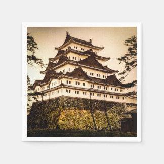 Castillo de Nagoya en 名古屋城 antiguo del vintage de Servilletas Desechables
