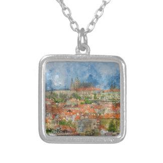 Castillo de Praga con el puente famoso de Charles Collar Plateado
