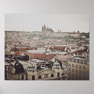 Castillo de Praga en la ciudad de la República Póster
