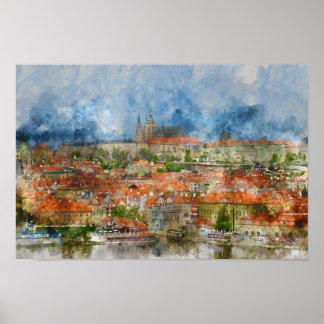 Castillo de Praga en República Checa Póster