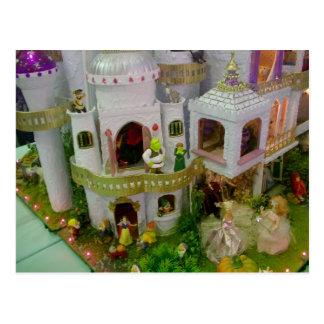 Castillo miniatura del cuento de hadas postal