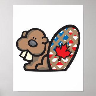 castor canadiense americano lindo poster