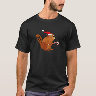 Castor divertido en arte del navidad del gorra de camiseta