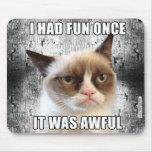 Cat™ gruñón Mousepad - me divertía una vez Tapete De Raton