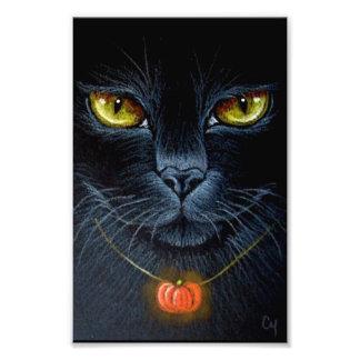 """CAT NEGRO DE HALLOWEEN CON EL COLGANTE 4"""" DE FOTO"""