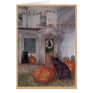 CAT NEGRO de HALLOWEEN y casa encantada Tarjeta