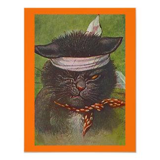 CAT NEGRO EN LA INVITACIÓN DEL FIESTA DE HALLOWEEN INVITACIÓN 10,8 X 13,9 CM