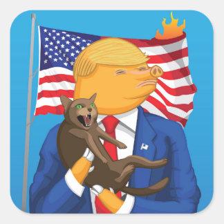Catástrofe americana pegatina cuadrada