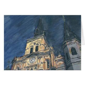Catedral de la noche buenas fiestas felicitacion